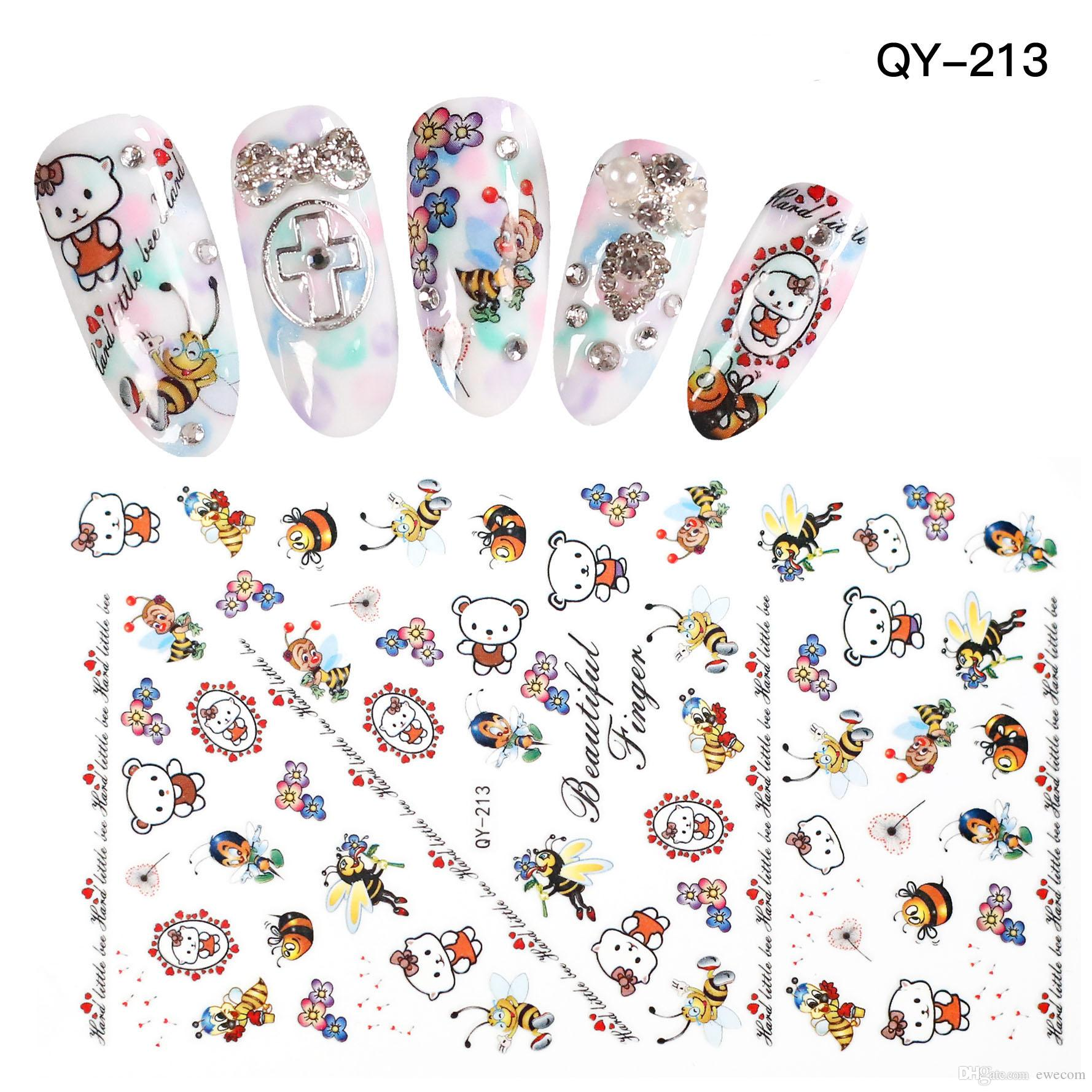 High Quality Cute Cartoon Bee Cat Nail Art Stickers Decals Nail Girl ...