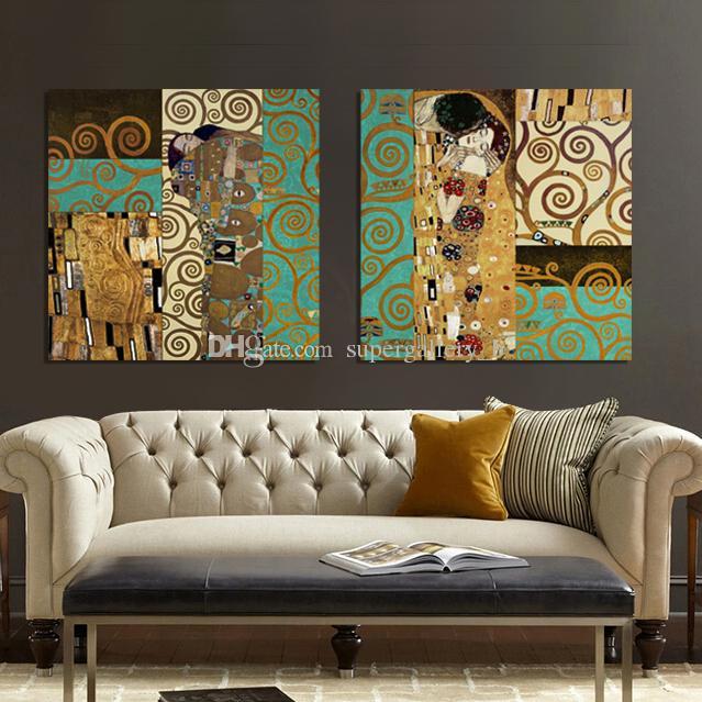 2018 Gustav Klimt The Kiss And The Tree Of Life,2p Handpainted ...