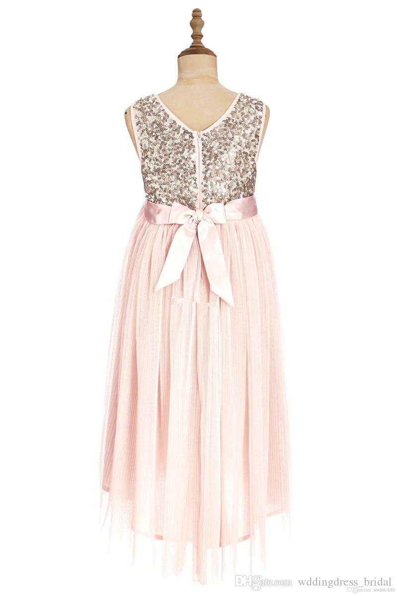 Blush Pink Flower Girl Dresses Gold Sequins Handmade Flowers 2019 Tea Length Tulle Jewel A Line Kid Formal Dress Junior Bridesmaid Dresses
