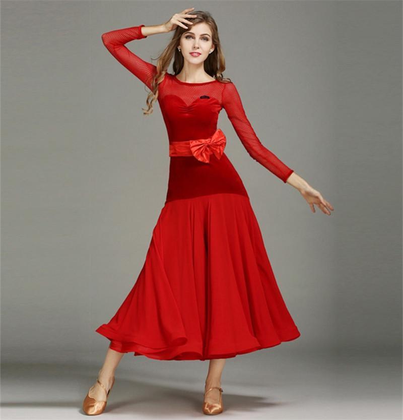 New Adult/Women Ballroom Dance Dress Modern Waltz Standard Competition Practice Dance Dress Mesh Stitching Velvet DressWith Bow belt