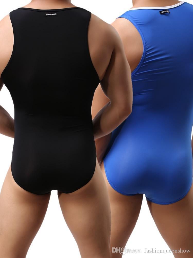 Sexy Men Sleeveless Leotard Stretchy Male Shapewear One-Piece Soft Undergarment Wrestling Singlet Bodywear Swimsuit