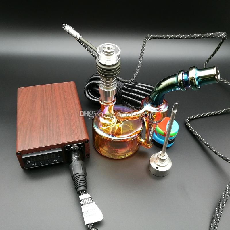 E Digital Nail Kit Elektrische Dab Nagel Holz Farbe TC PID Box Dabber Dab Rig Domeless Titan Carb Kappe mit Ölplattform Bong