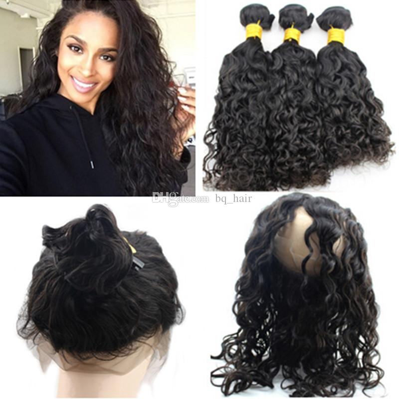 Pre Plucked 360 Lace Virgin Hair Indian Wet And Wavy Frontal Closure