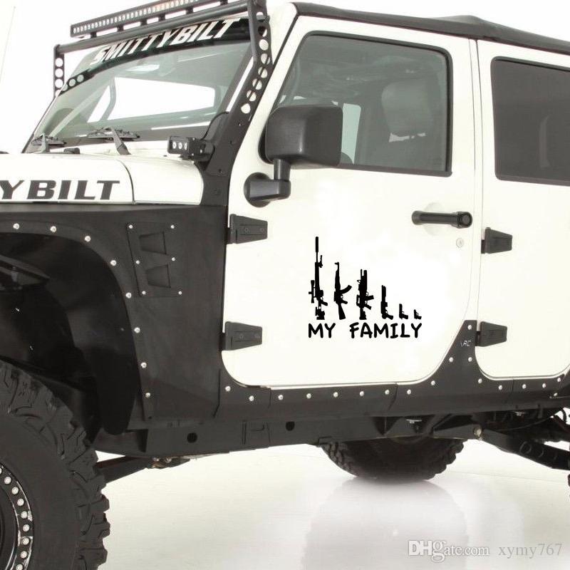 Sıcak Satış Araba Stying Serin Grafikler Benim Silah Aile Tampon Sticker Pencere Komik Çıkartması Araba Aksesuarları Vinil Jdm
