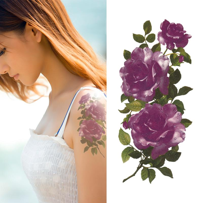 wholesale ice purple flower tattoo designs rose temporary tattoo for women waterproof stickers ym x277 adult temporary tattoos childrens tattoos from
