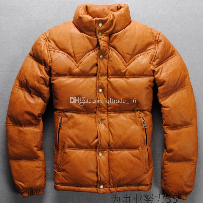 2 cores preto couro de pele de carneiro japonês jaquetas grossas de inverno para baixo jaqueta de couro para o inverno frio