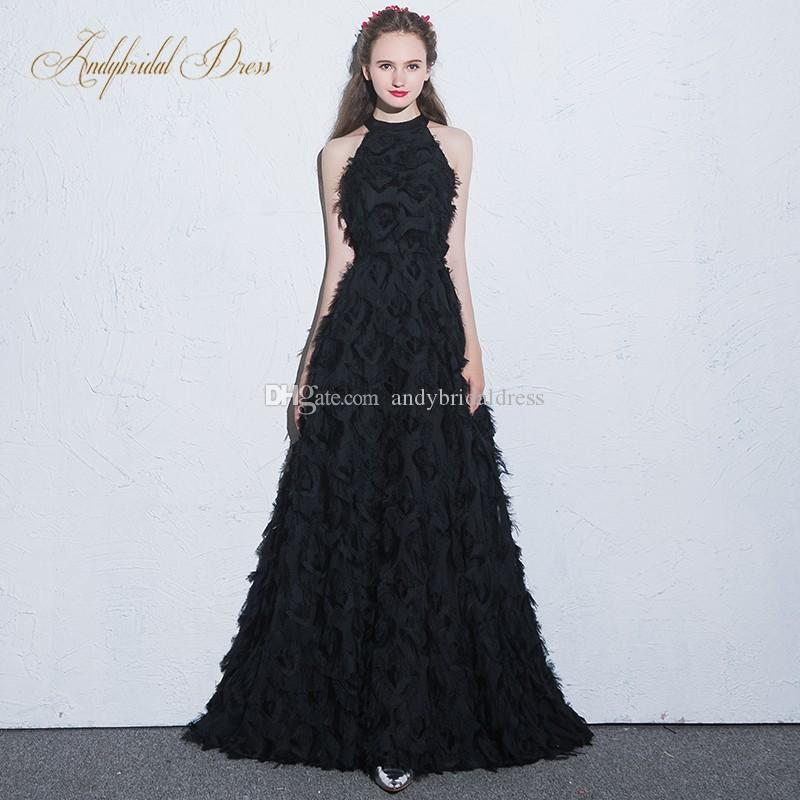 2018 New Design! A Line Feather Black Evening Gowns Prom Dresses ...