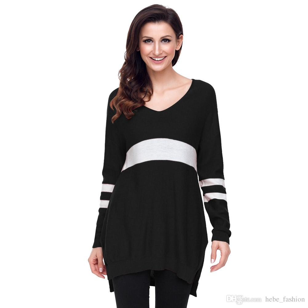 2018 Women Pullovers 100% Pure Goat Cashmere Sweater White Strip ...