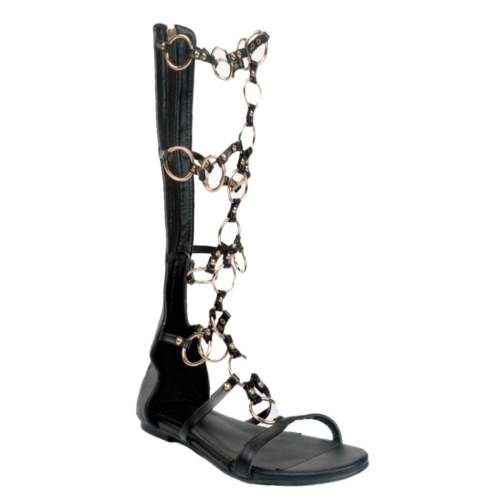 Zandina Gros Femmes Mode À La Main Au Genou En Métal Déco Zipper Flat Sandale Bottes Appartements Chaussures Noir XD142