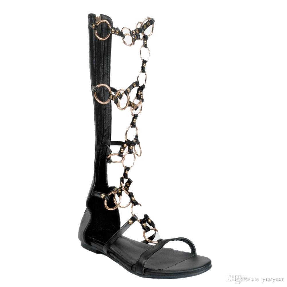 Zandina Toptan Bayan Moda El Yapımı Diz-yüksek Metal Deco Fermuar Düz Sandal Boots Flats Ayakkabı Siyah XD142