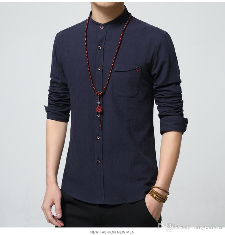 Wholesale New Autumn Fashion Brand Men Colthes Slim Fit Men Long Sleeve White Linen Shirts Men Casual Business Shirts