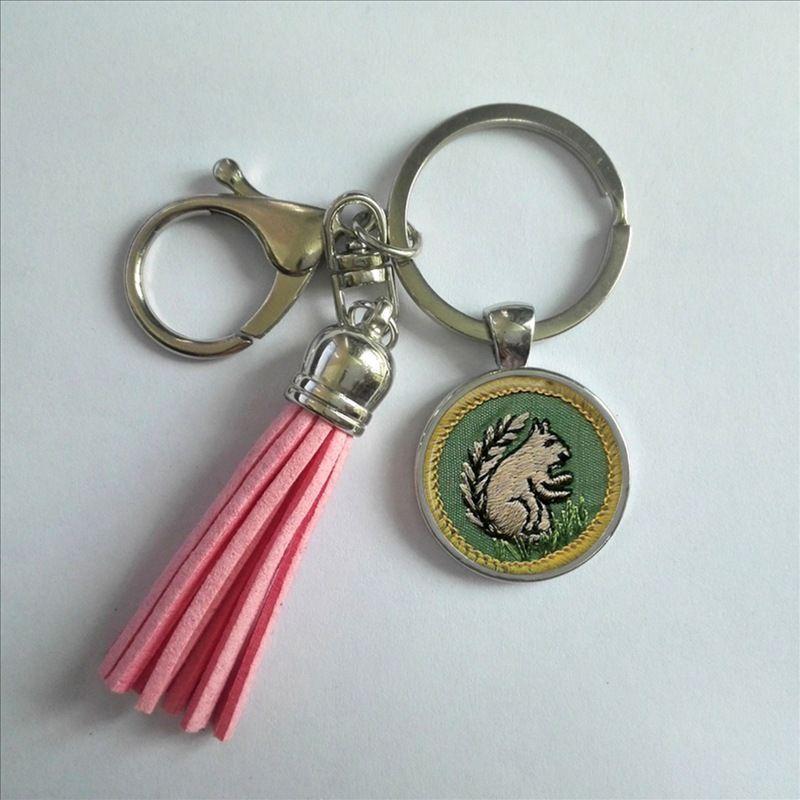 Moda ragazza scout nappa portachiavi cadette distintivo di merito portachiavi foto fatta a mano catena chiave gioielli in argento regali