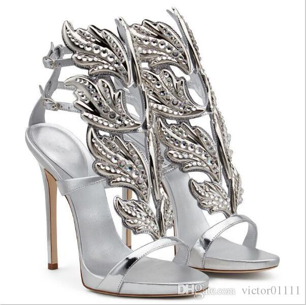 2016 Hot Winged High Heel Sandals Crystal Gold Gladiator Sandals Sexy Summer Party Shoes Women