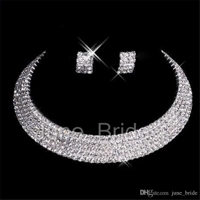 Clássico Designer Sexy Men-Made Colar Brincos De Diamante Partido Prom Formal Wedding Jewelry Set Nupcial Acessórios Frete Grátis Em Estoque