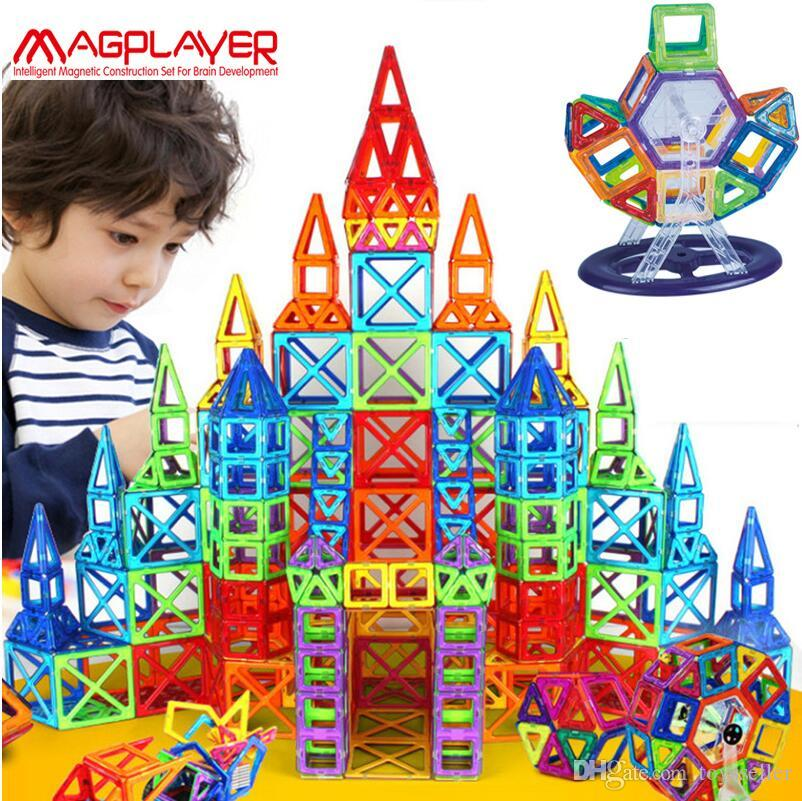 Dropping ship Magplayer 252pcs Magnetic Blocks Mini Magnetic Designer Construction 3D Model Magnetic Blocks Educational Toys For Child