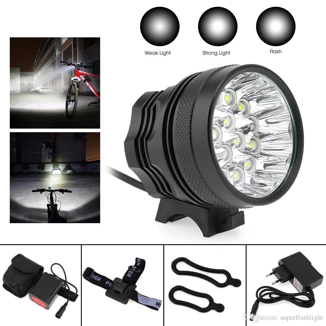 XM-L T6 LED Bicycle Lamp Bike Light Bike Handlebar Headlight Cycling Front Lamp Torch with 8.4V 6400mAh Battery Set BLL_01X