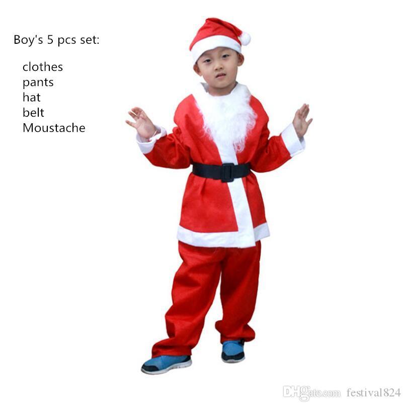 Kinder Weihnachtsmann Anzug Kostüm Jungen Kind Mädchen Weihnachten Kleid