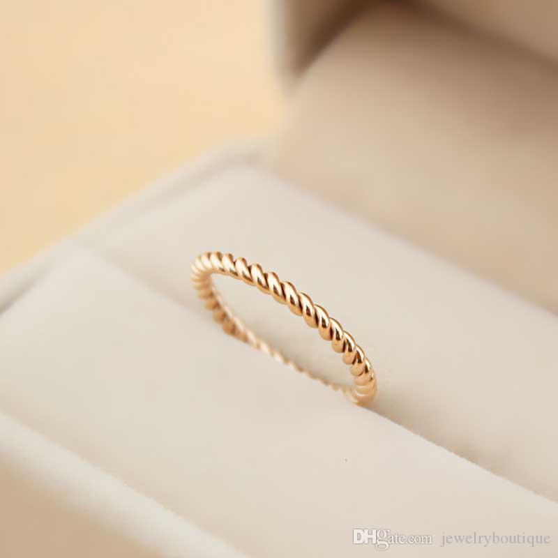 Top quality 316L Titanium steel South Korea hemp flowers design ring female contracted tail and mid finger ring men and women lovers Jewelr