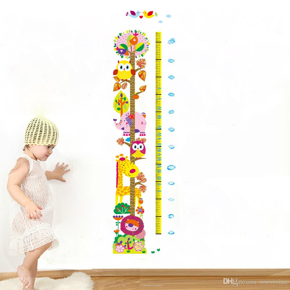 Cartoon Animals Giraffe Owls Elephant Lion Colorful Tree Wall Decals Kids Boys Girls Height Measurement Stickers Growth Chart Wallpaper Art