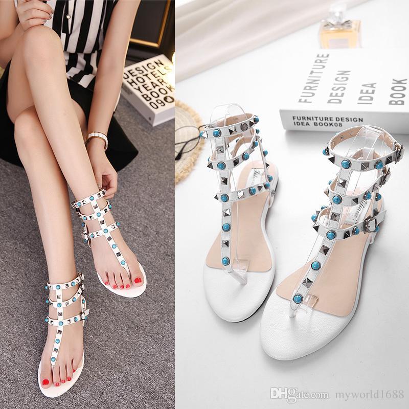 Новый рок стиль заклепки плоские сандалии женские шлепанцы лоскутное T ремень шлепанцы обувь размер 35 до 39