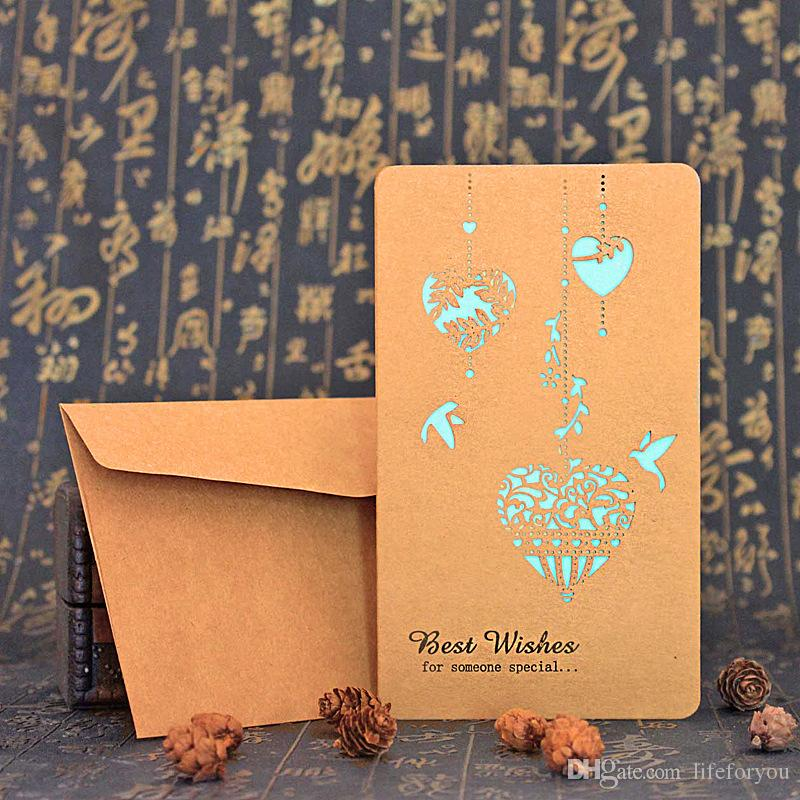greeting cards hollow laser cutting greetings card wedding cards birthday card Valentine card business cards with kraft paper envelope