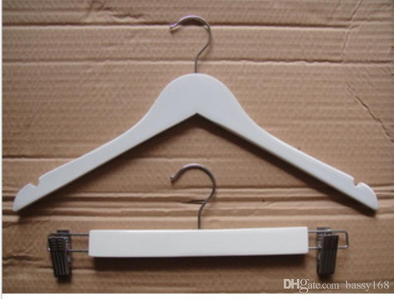 White Color Solid Wooden Hanger with Anti-slip Without Cross Bar for Women Coat Suit Clothes Racks 38cm 44cm for Home Office Closet Shop Hot
