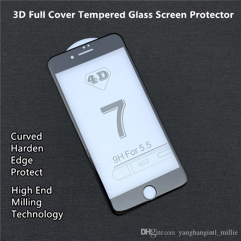 f70dd85dc20 Protector De Pantalla De Burbujas Para Iphone 6 7 8 Plus Cubierta De Vidrio  Completa 3D Protector De Pantalla De Vidrio Templado Con Borde Templado ...