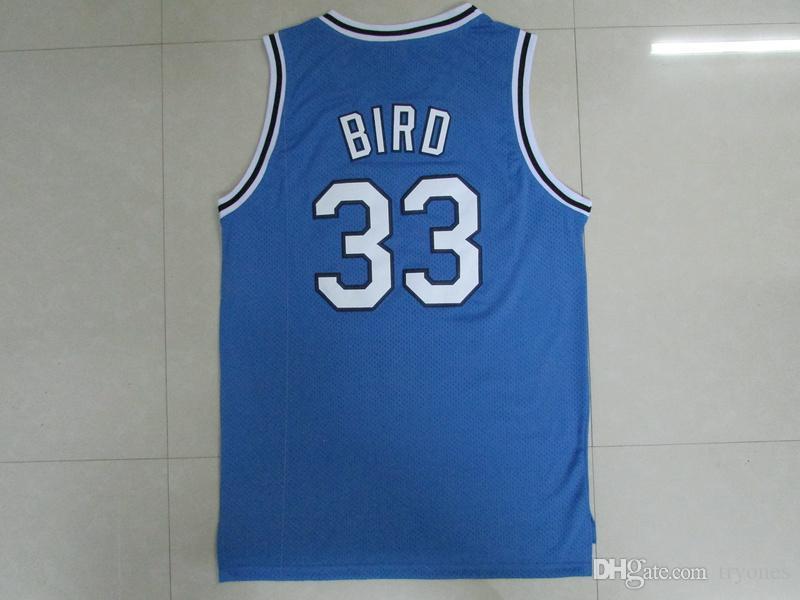 Mens Indiana State sicomori Larry Bird College Basketball pullover # 33 di New Valley camice High School di Larry Bird ha cucito Giallo Rosso