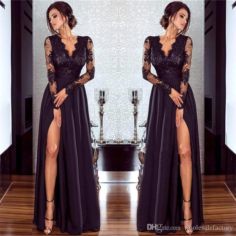 2020 Black V Neck Sheer Long Sleeves Satin Evening Dresses Lace Top Split A Line Party Prom Dresses