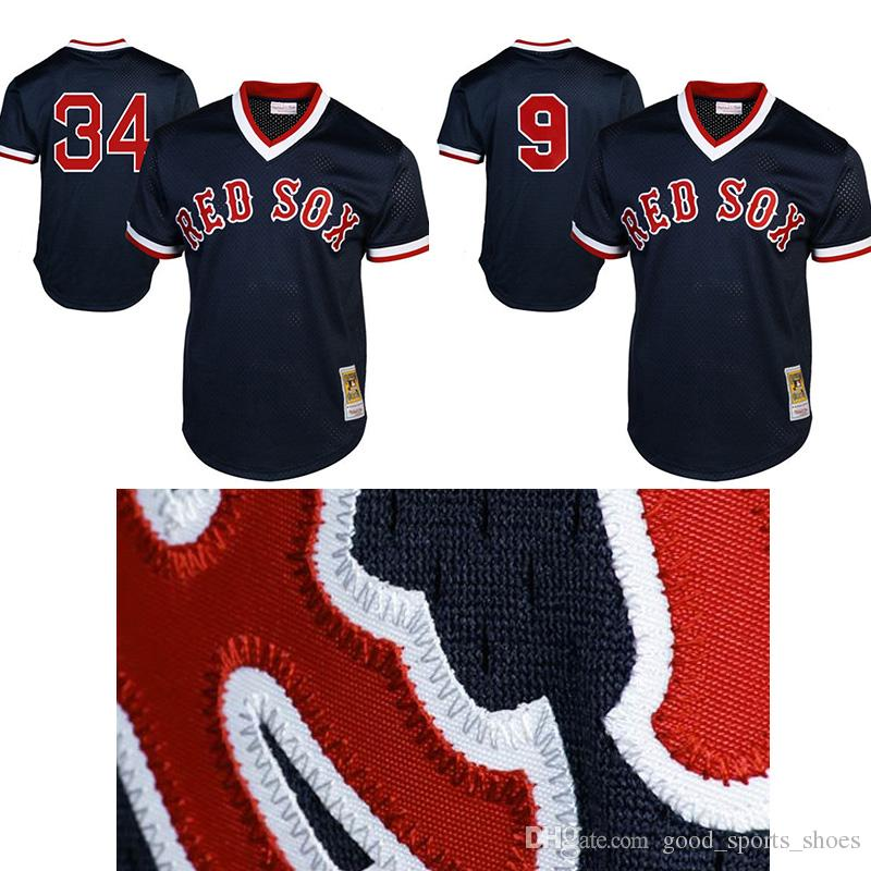 ... Mitchell Ness 34 David Ortiz 9 Ted Williams Boston Red Sox 1990  Authentic Cooperstown Collection Batting ... f5958450b2f