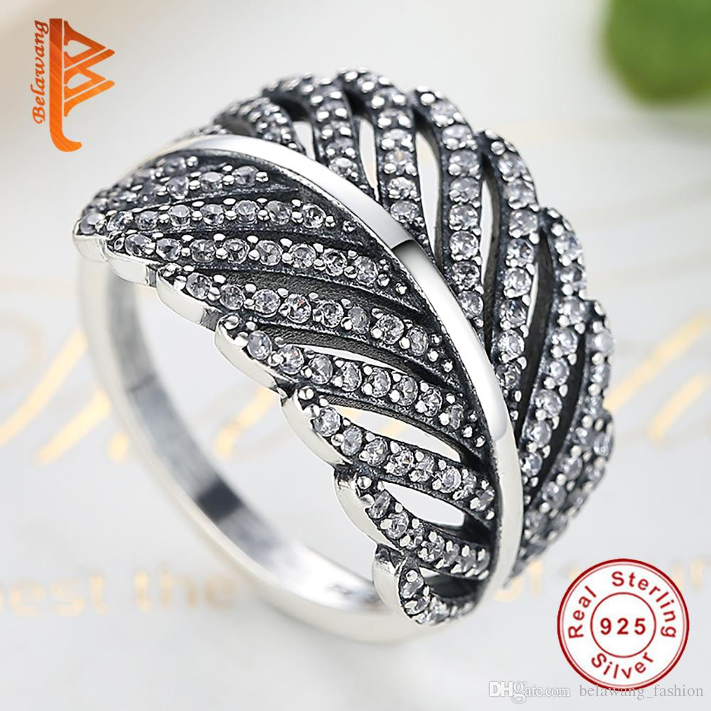 Womens 925 Sterling Silver Plated Leaf Feather Ring Sizeable Adjustable Wrap
