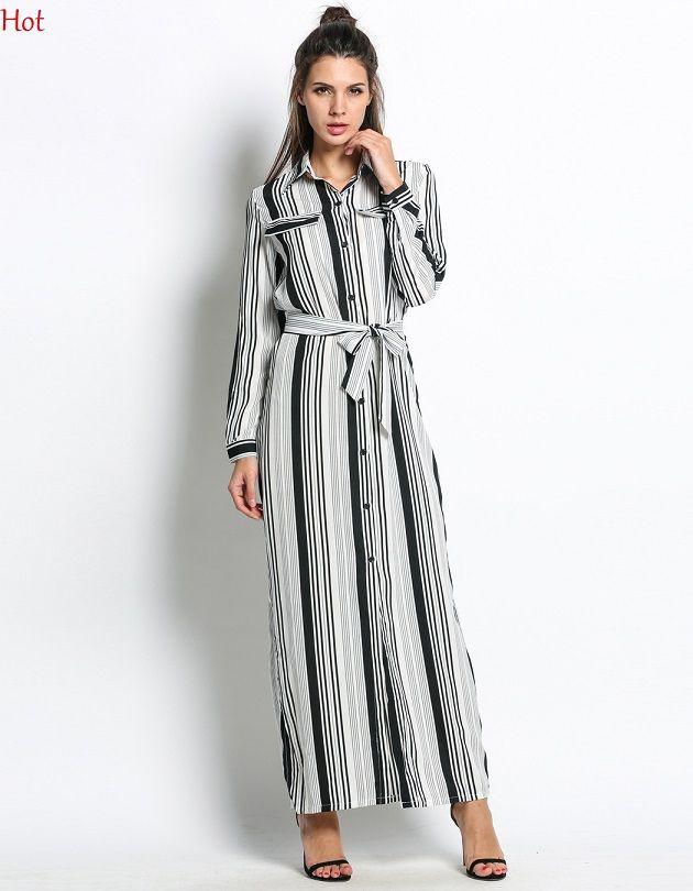 735d95c8628 Sexy Elegant Casual Shirt Dress Women Long Sleeve Maxi White Black Striped  Dresses Turn Down Collar Slim Office Work Formal Dress SV030075 Black  Dresses For ...