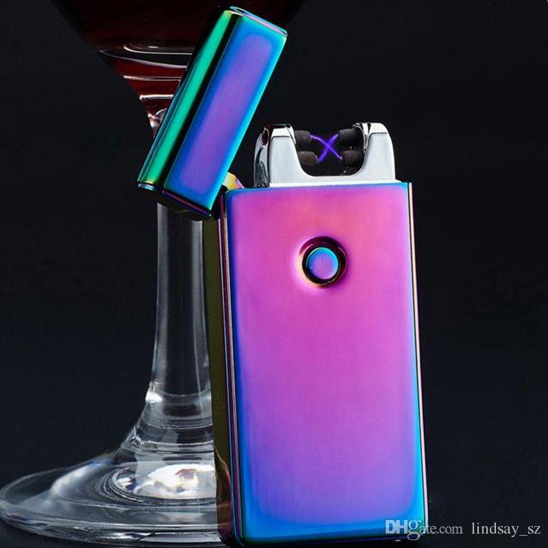 Isqueiro Eletrônico Dupla Arco À Prova de Vento Ultra-fino de Metal Pulse USB Recarregável Sem Chama Elétrica Charuto Cigarro Mais Leve