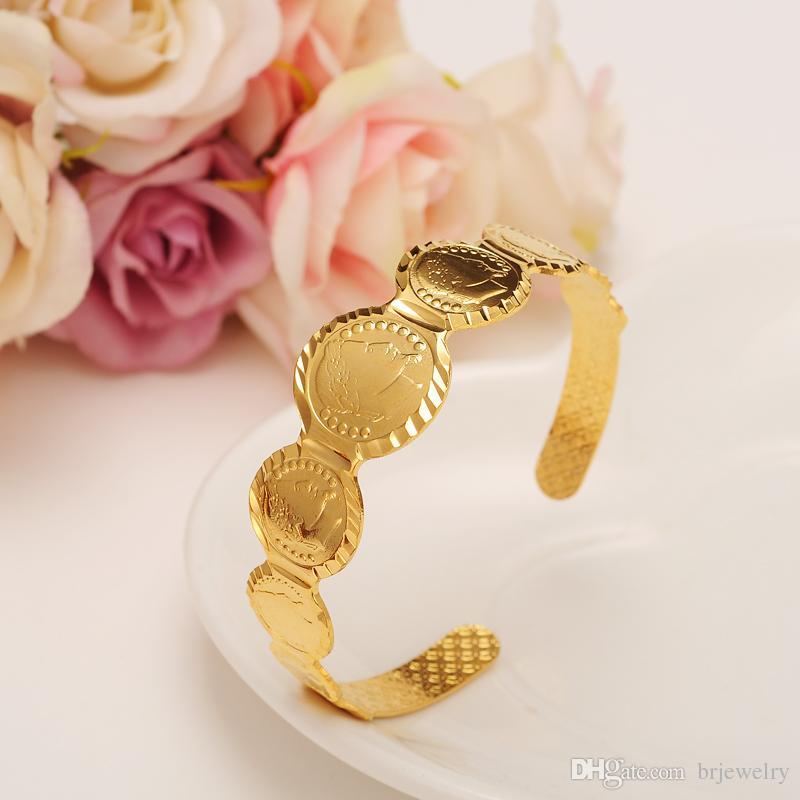 65c2aa2c2348 Compre Tamaño Libre Moneda De Oro Pulsera De Oro Islámico Musulmán Árabe Monedas  Pulsera Para Mujeres Hombres País Árabe Middlekids Eastern Jewelry A  5.08  ...