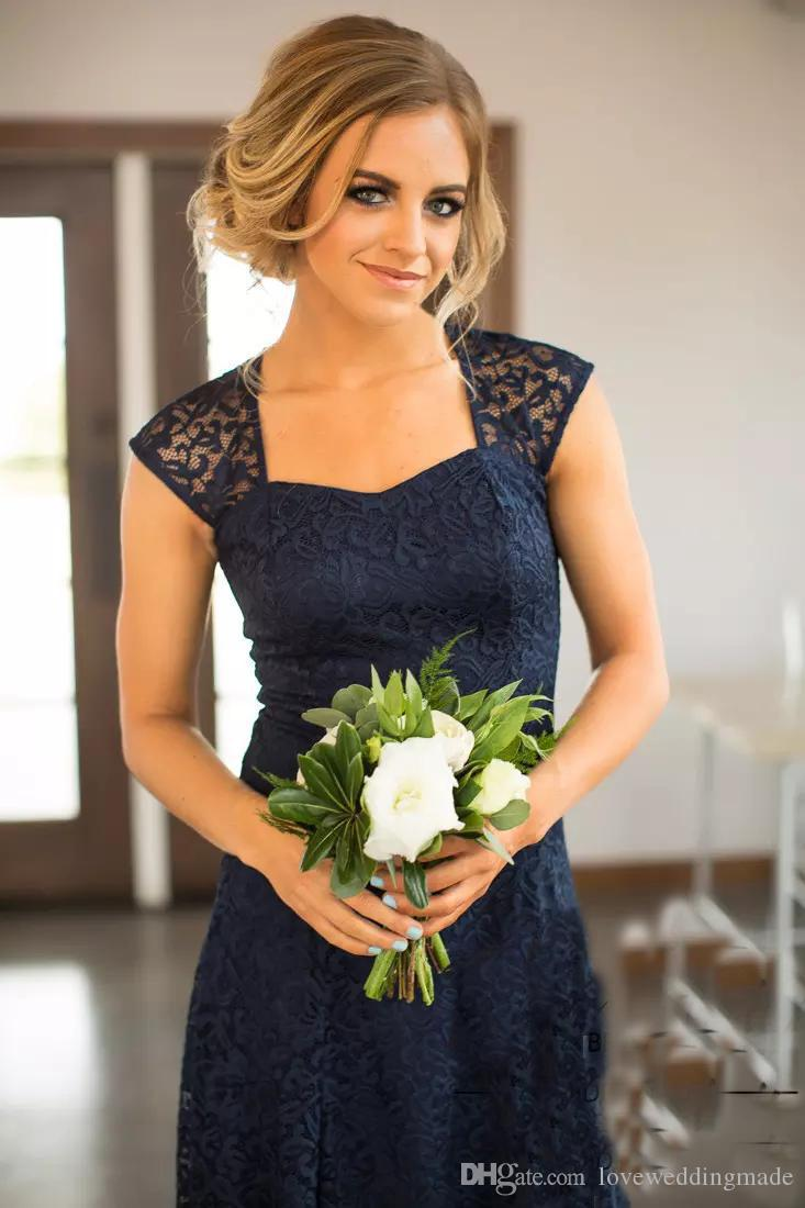 2019 Country Short Bridesmaid Dresses Capped Sleeves Navy Blue Above Knee Length Lace Bridemaid Gowns Party Maid Of Honor
