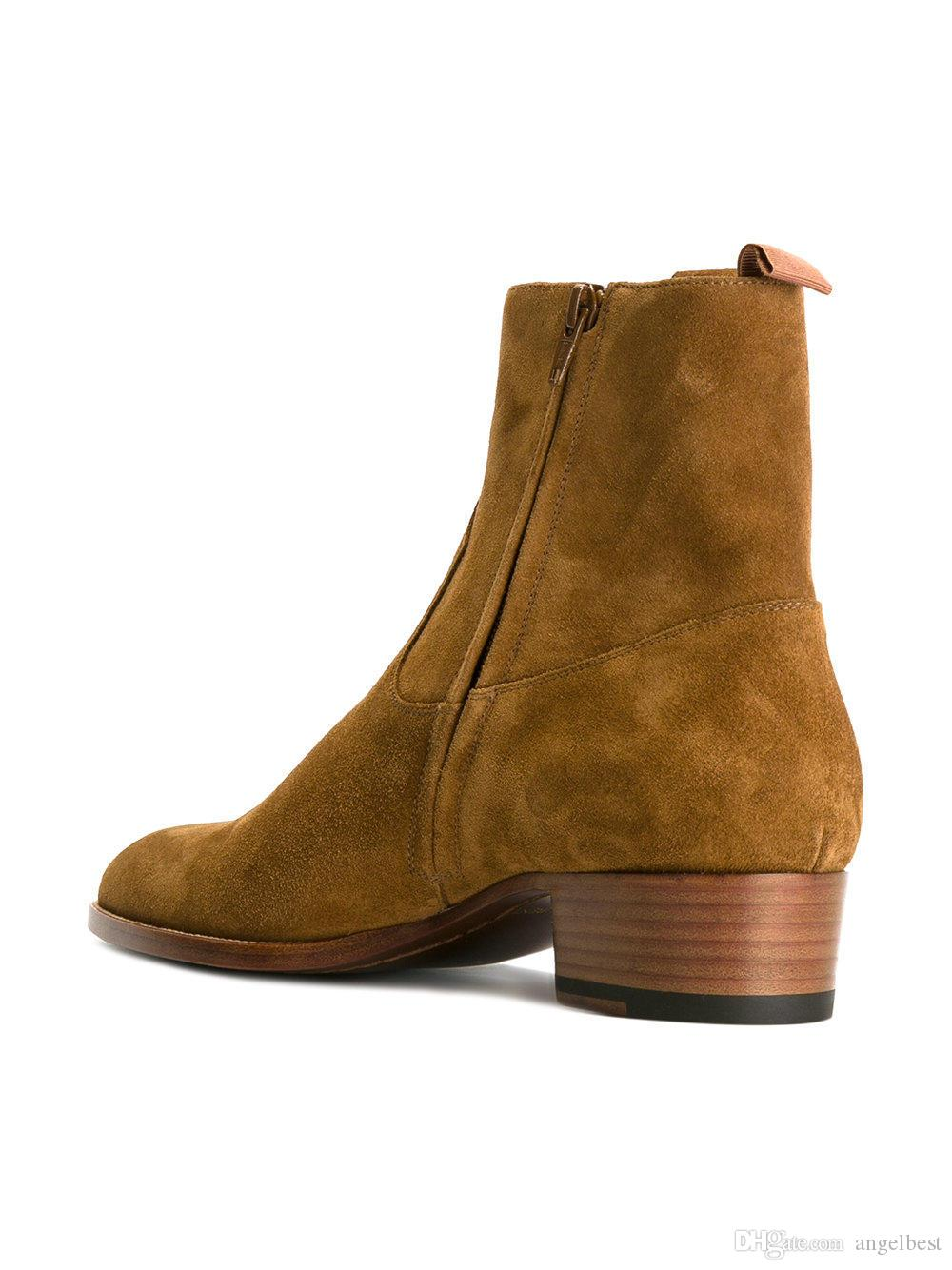2017 Hot Fashion Tan Color High Tops Men Ankle Boots Suede Nubuck Leather Martin Boots Western Style Work Dress Shoes Autumn Boots