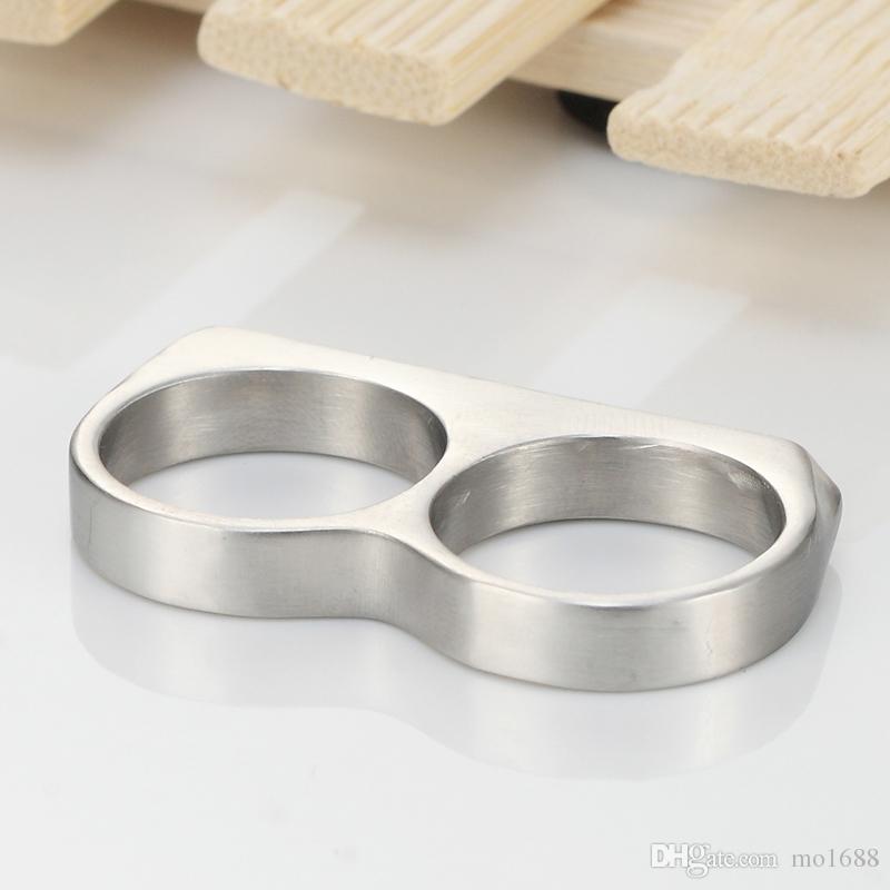 Homens das mulheres dois dedos Knuckle Duster Minimalista Aço Inoxidável Bar Anel