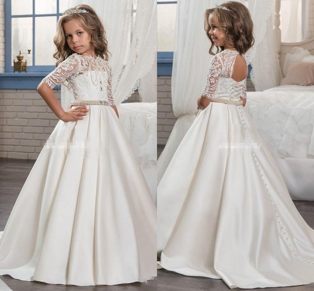 95d060f41 2018 Custom Princess Half Sleeve Holy Lace White Communion Dress ...