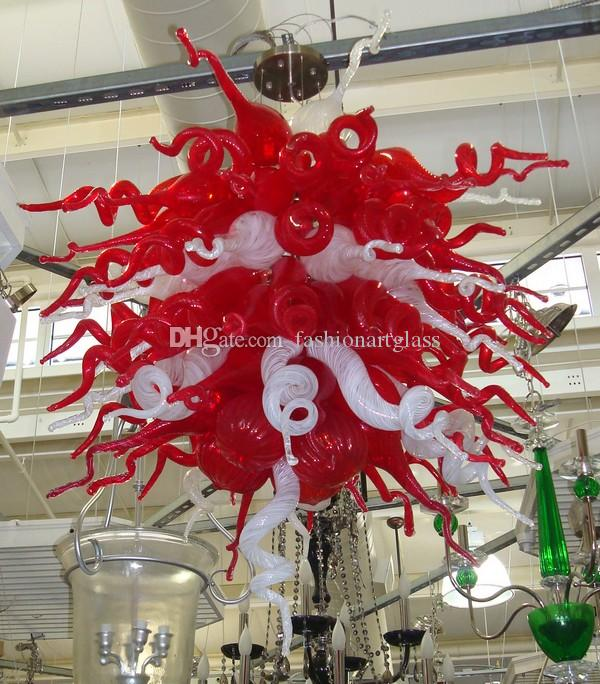 Chihuly Style Rustic Chandeliers Lighting 110 / 220v AC Led Pretty Light Red and White Mini Lámpara Linda