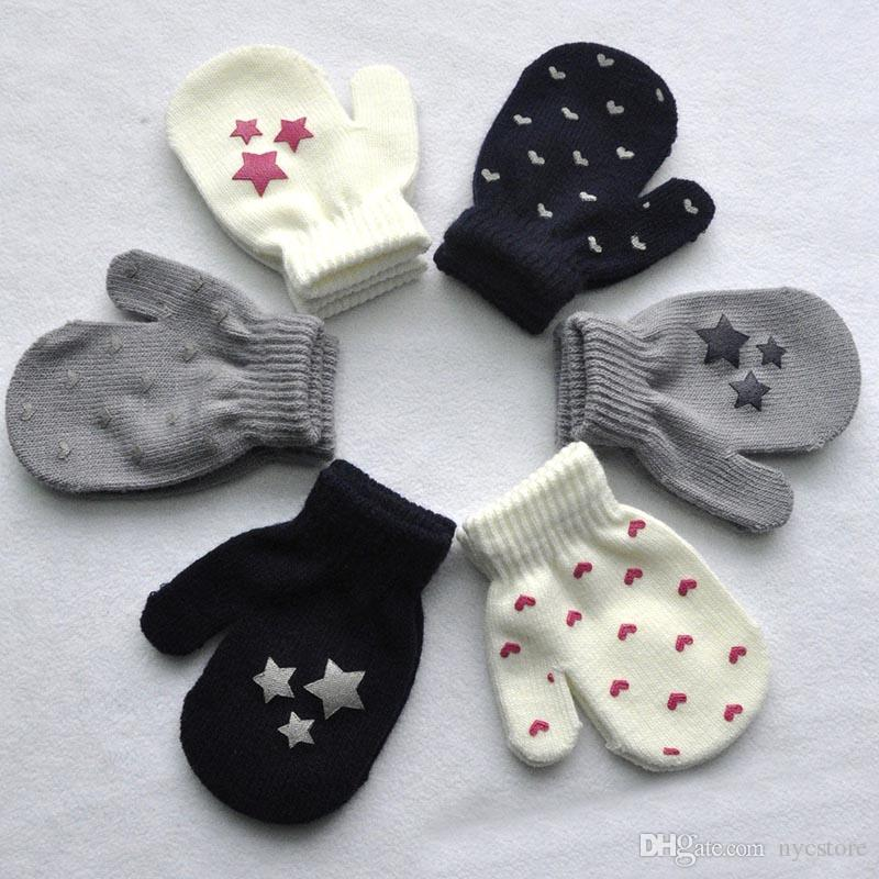 Cute Kids Winter Gloves Knitted Heart Mittens Warm Dot Gloves Girls