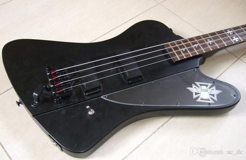 custom 4 strings fire v thunderbird matte black electric bass guitar emg pickups black hardware. Black Bedroom Furniture Sets. Home Design Ideas