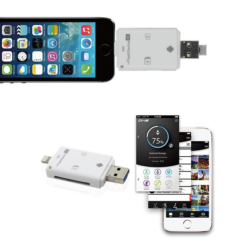 3 en 1 i-Flash Lecteur Multi-Carte OTG Lecteur Micro SD TF Mémoire USB Carte Lecteur Adaptateur pour iPhone 8 7 6 Plus Andriod PC