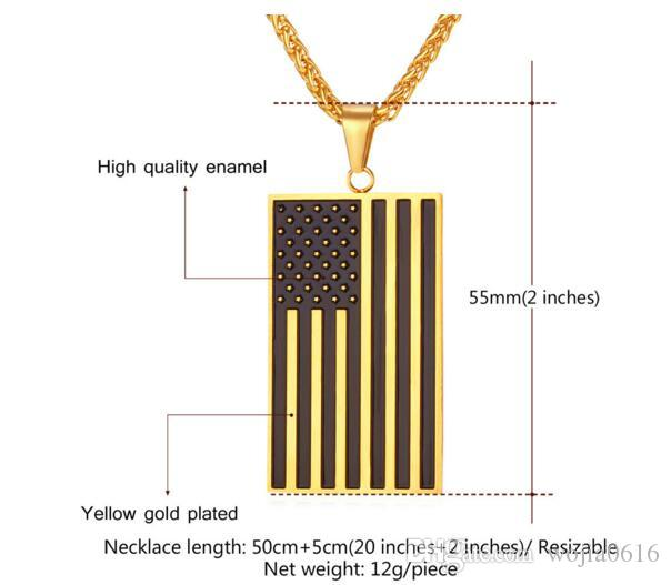 Pendant Necklaces US Flag & Pendants Gold Color Stainless Steel USA American Chain For Men/Women Gift Fashion Jewelry P721