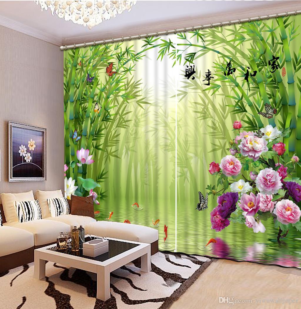 Vorhänge für Wohnzimmer Bambus 3D Vorhang benutzerdefinierte Mode Dekor  Dekoration für Schlafzimmer