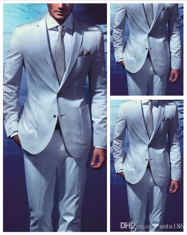 Yeni Tasarım Açık Mavi Damat Smokin takım elbise İngiliz Tarzı Erkekler Düğün takım elbise smokin Yemeği Takım Elbise Adam Suit Ceket + Pantolon