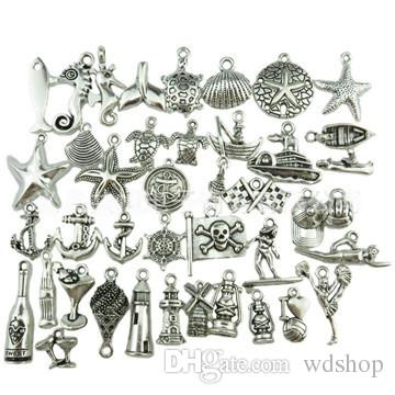 Mini Marine Animals Pendant Charms Starfish Shell Seahorse Metal Accessories Pendant For DIY Necklace Bracelet Jewelry Making
