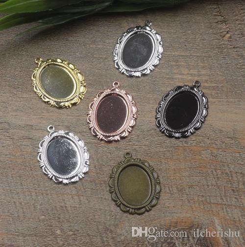 Fit 13*18mm diy antique bronze silver rose gold gun black Copper oval metal stamping pendant blanks, charm base cameo cabochon setting bezel