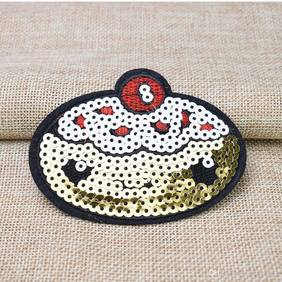 reversible sequin cake patches for clothing applique iron patch accessories stickers badge on clothes iron on mouth patches for cloth