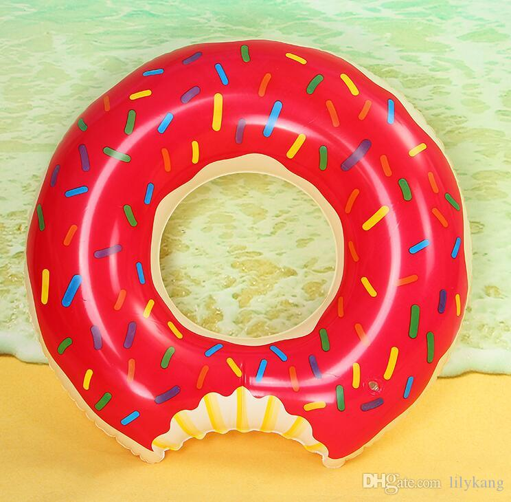 90cm Inflatable swim Floats Strawberry Donut swim ring Inflatable Donut Swimming Rings Floats Pool Toys Swimming Floats Adult swim tube buoy
