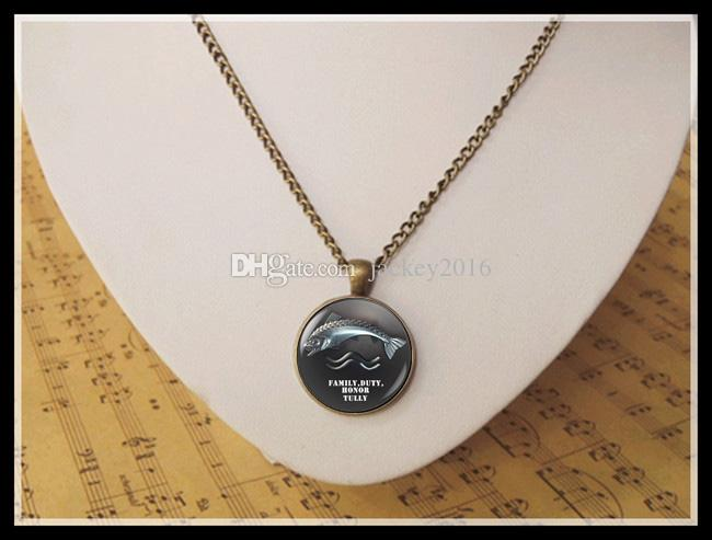 3D fish Riverrun necklace Family Duty Honor Tully Trout Sigil Blackfish Pendant Necklace Game of Thrones Brynden Tully Jewelry T1031